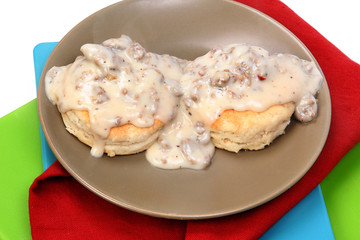 American Southern Style Sausage Biscuits and Gravy