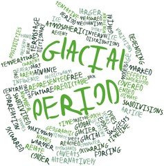 Word cloud for Glacial period