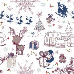 Cute seamless winter holiday pattern
