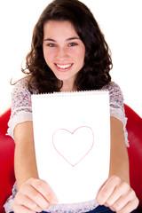 Beautiful Girl Showing Her Heart