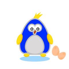 bird with egg cartoon character