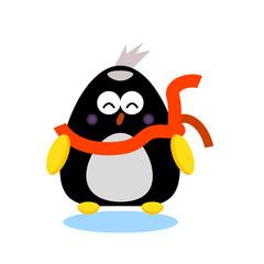 penguin cartoon character wear scarf in winter