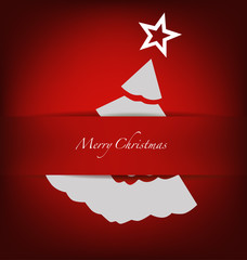 Merry Christmas postcard with origami Christmas tree, vector ill