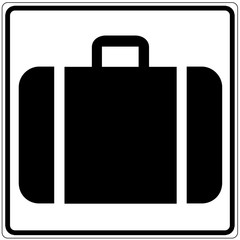 Fototapete - Schild weiß - Gepäckabgabe