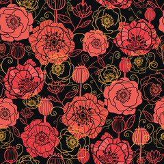 Vector red and black poppy flowers seamless pattern background