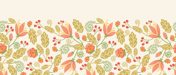 Vector colorful flowers and berries horizontal seamless ornament