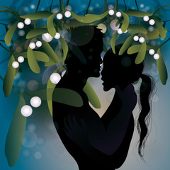 Kiss under mistletoe / Christmas tradition