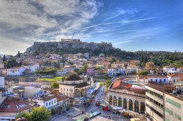Wall Mural - Monastiraki square and Acropolis in Athens,Greece