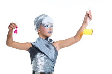 children futuristic fashion children girl chemical experiment