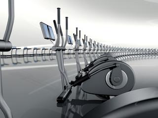 Futuristic modern gym with elliptical cross trainer