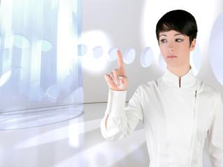 Futuristic woman touch finger copyspace