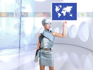 futuristic children girl in silver touch finger world map