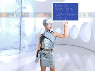 futuristic children girl in silver touch finger math formula