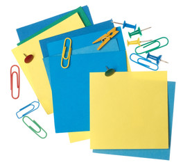 Colour note paper with a paper clip