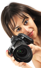 Fhotographer woman with professional camera
