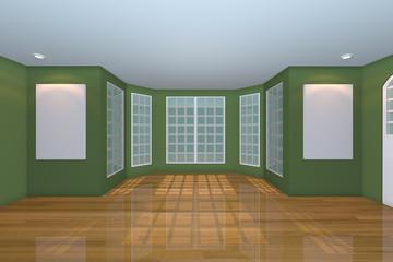 Empty Green Living Room