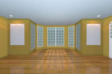 Empty Yellow Living Room