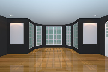 Empty Black Living Room