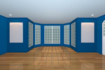 Empty Blue Living Room