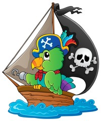 Foto op Plexiglas Piraten Image with pirate parrot theme 1