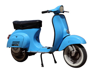 Foto op Plexiglas Scooter Blue vintage scooter isolated over white background