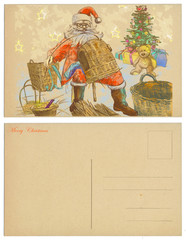 Santa Claus made ​​from wicker baskets for gifts - postcard