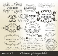 Collection of vintage calligraphic ornate labels
