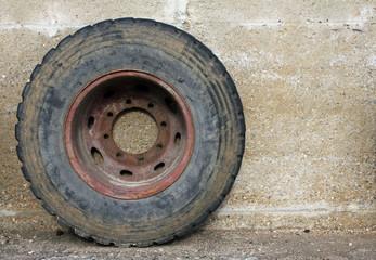 rubber wheel of a big truck