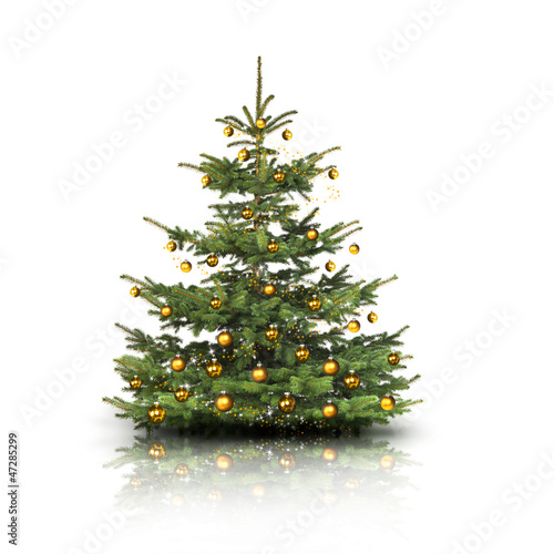 weihnachtsbaum mit goldenen kugeln stockfotos und. Black Bedroom Furniture Sets. Home Design Ideas