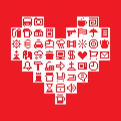 Pixel heart. Vector illustration