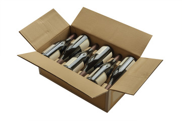 Fototapete - Wine bottles now shipped in cardboard boxes