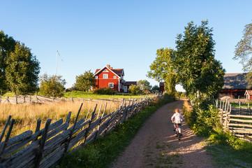 Kleiner Junge radelt auf Feldweg in Schweden