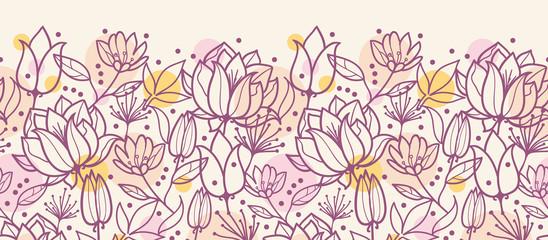 Vector purple line art flowers golden horizontal seamless