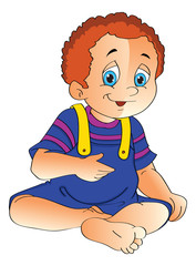 Baby Boy Sitting on the Floor, illustration