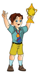 Boy Holding a Trophy, illustration