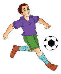 Man Playing Soccer, illustration