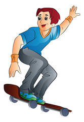 Man on a Skateboard, illustration