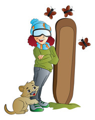 Woman Snowboarder, illustration