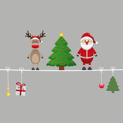 santa reindeer and tree gray background