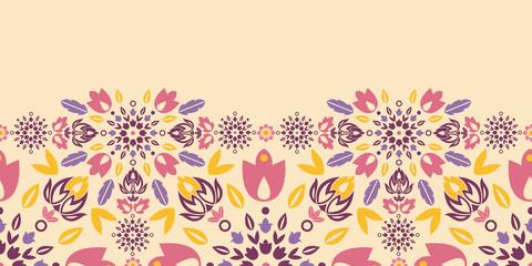 Vector ornamental colorful tulips horizontal seamless pattern