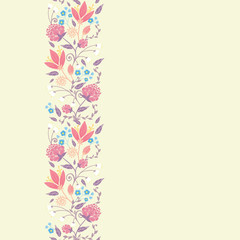 Vector fresh field flowers and leaves elegant vertical seamless