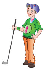 Man Playing Golf, illustration
