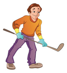 Man Playing Hockey, illustration