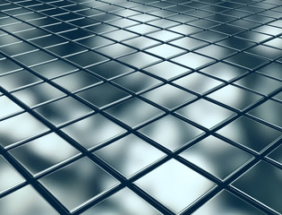 Reflective metal cubes background
