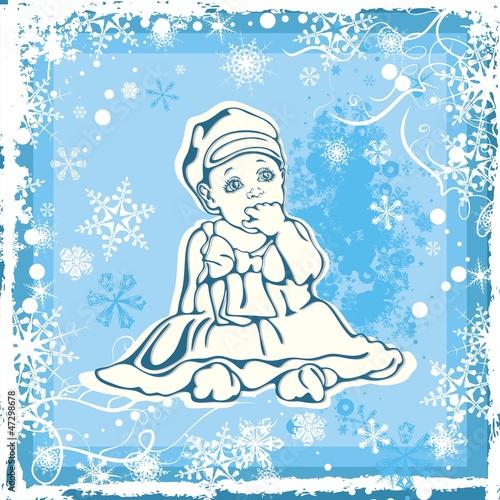 de03dc18c742 Cute Baby Vector Illustration over Winter Background