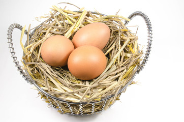 nest with eggs in basket on white background