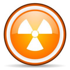 radiation orange glossy circle icon on white background