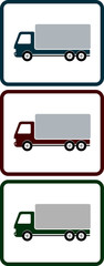 set of icons with shipping truck
