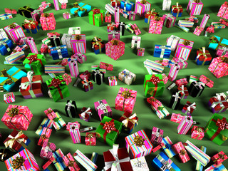 Many gift boxes spread on a green surface.