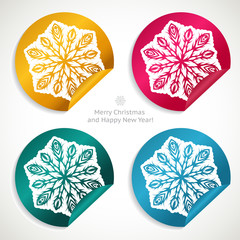 Set of Christmas stickers with snowflakes